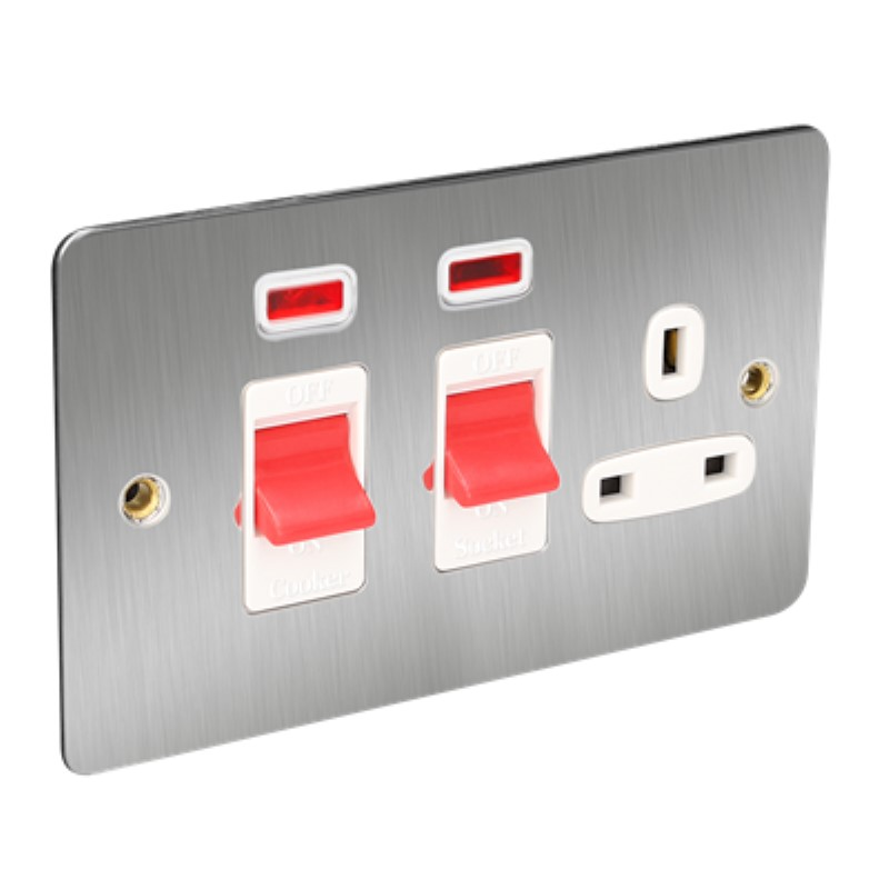 Flat Plate 45A Cooker Switch Plus Socket with Neon *Satin Chrome/White Insert **