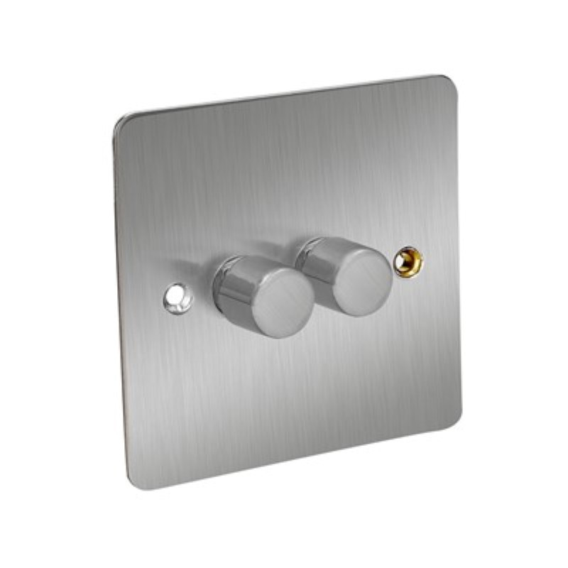 Flat Plate 250W 2 Gang 2 Way Dimmer Switch *Satin Chrome **