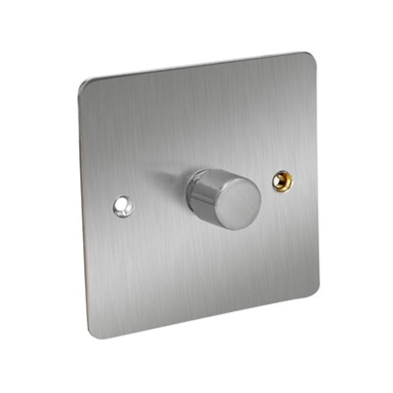 Flat Plate 400W 1 Gang 2 Way Dimmer Switch *Satin Chrome **
