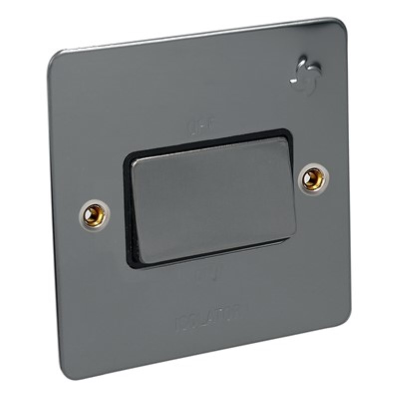 Flat Plate 10Amp Fan Isolator Switch 3 Pole *Black Nickel **