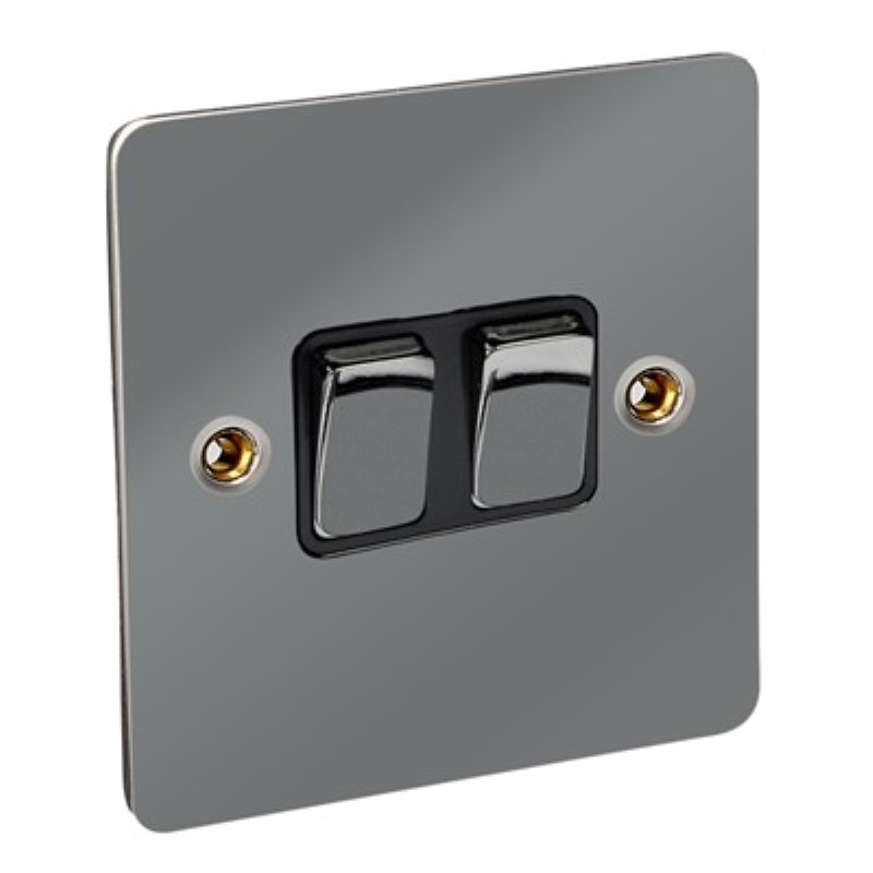 Flat Plate 10Amp 2 Gang 2 Way Switch *Black Nickel **