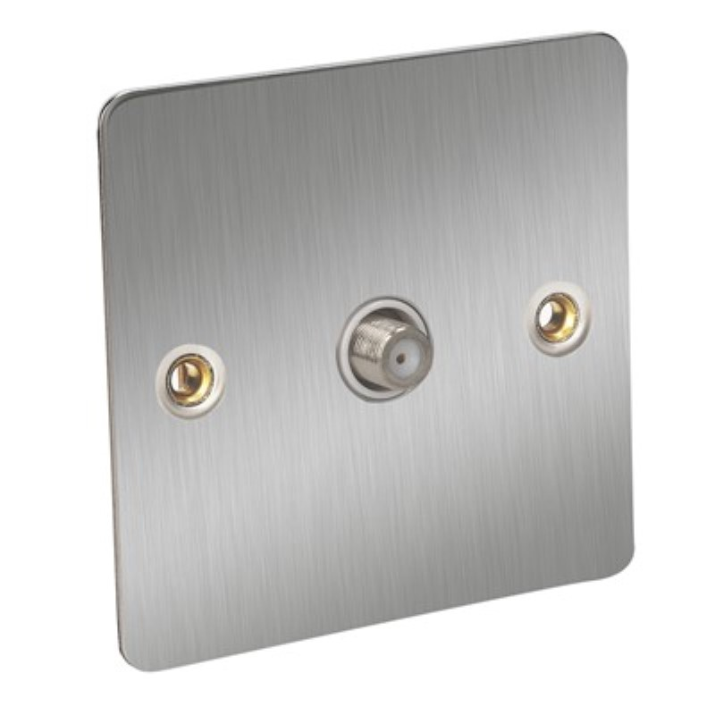 Flat Plate Satellite 1Gang Outlet - BS3041 & BS 41003 *Satin Chrome/White Insert **