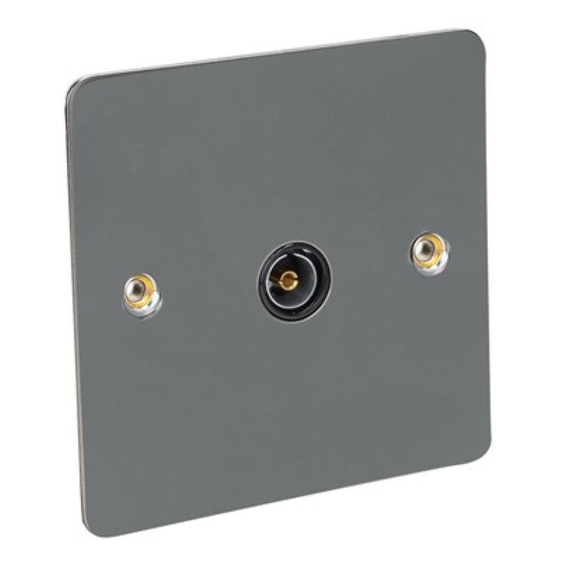 Flat Plate 1 Gang TV Socket - BS3041 *Black Nickel **