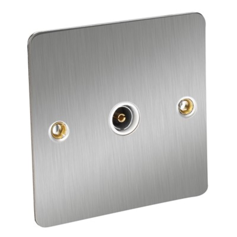 Flat Plate 1 Gang TV Socket - BS3041 *Satin Chrome/White Insert **
