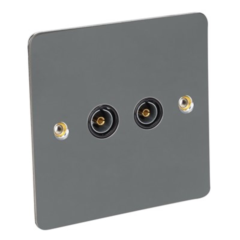 Flat Plate 2 Gang TV Socket - BS3041 *Black Nickel **
