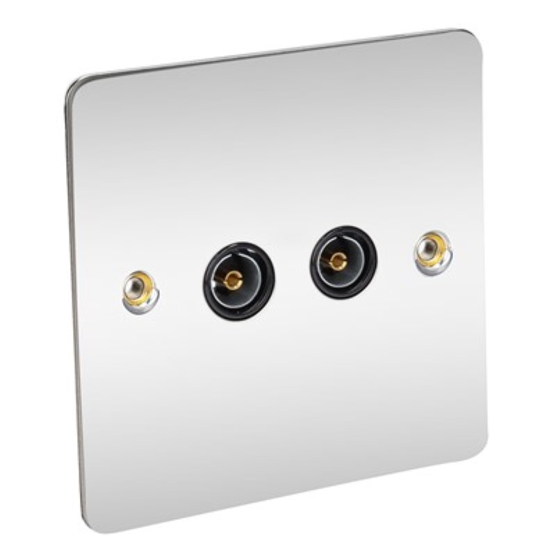 Flat Plate 2 Gang TV Socket - BS3041 *Chrome/Black Insert **