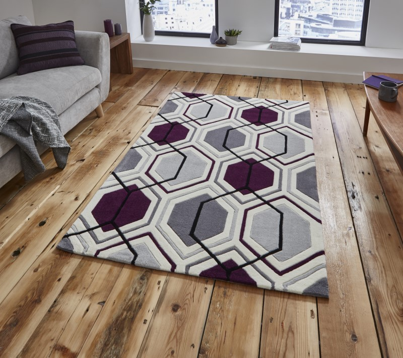 High Gate Rug Cream/Dark Purple