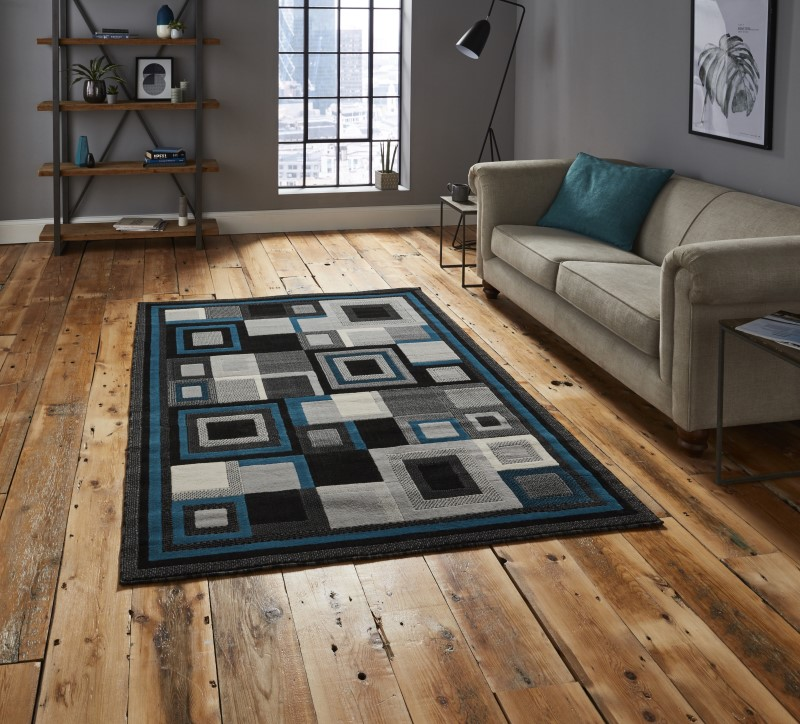 Hounslow Rug Black/Blue