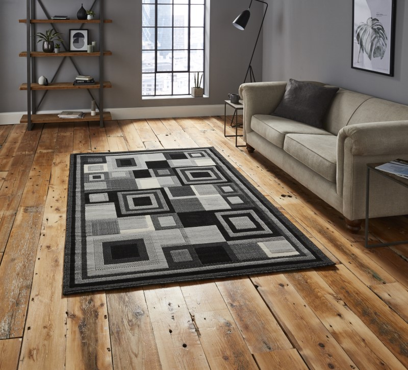 Hounslow Rug Black/Grey