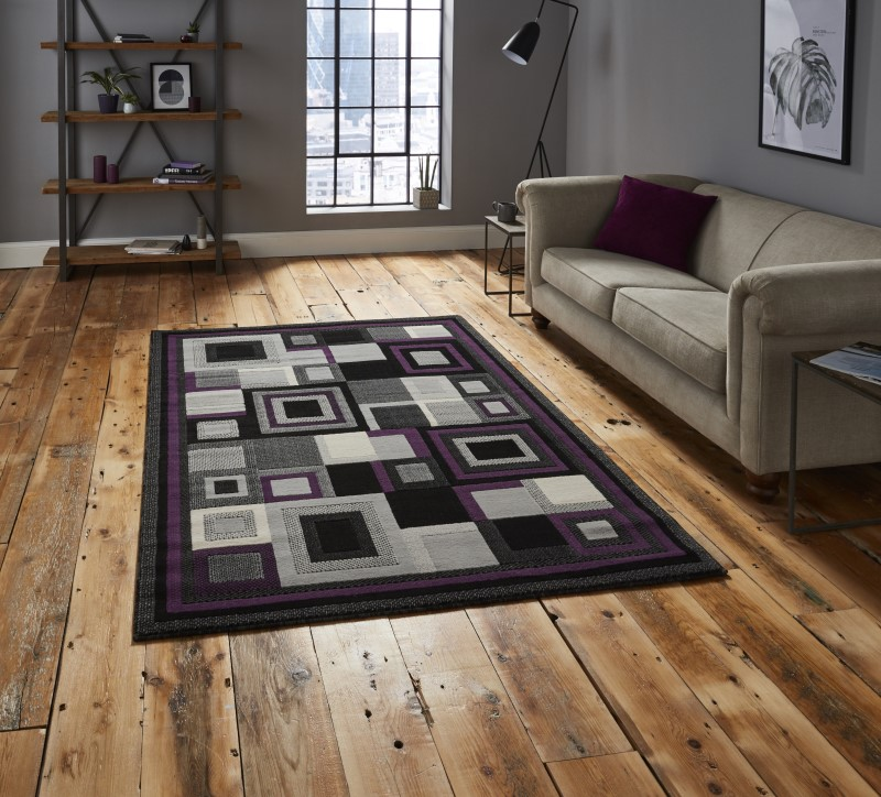 Hounslow Rug Black/Purple