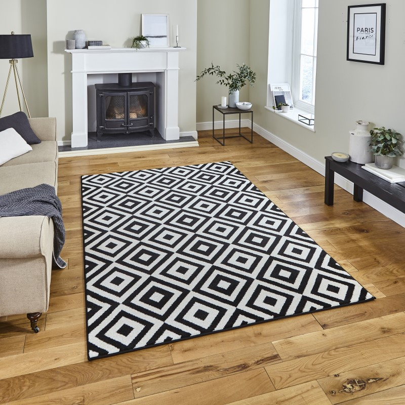 Mansion Rug Black/White